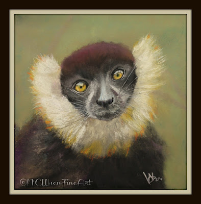 black and white ruffed lemur pastel painting 30in30 ncwren