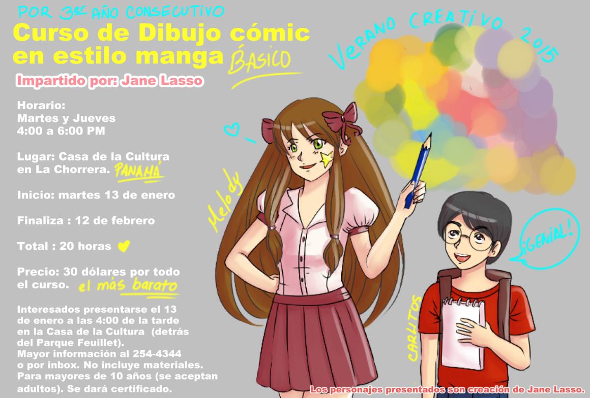 Dibujos Y Sketches De Jane Lasso Enero 2015: Curso De Dibujo Cómic En Estilo Manga (verano 2015 Panama
