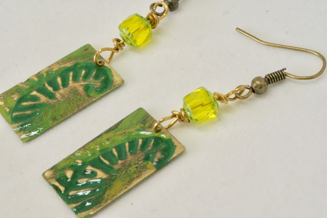 Chartreuse and Green Fern Earrings by BayMoonDesign