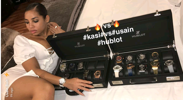 Usan Bolt and girlfriend Kasi Bennet ,hublot watches