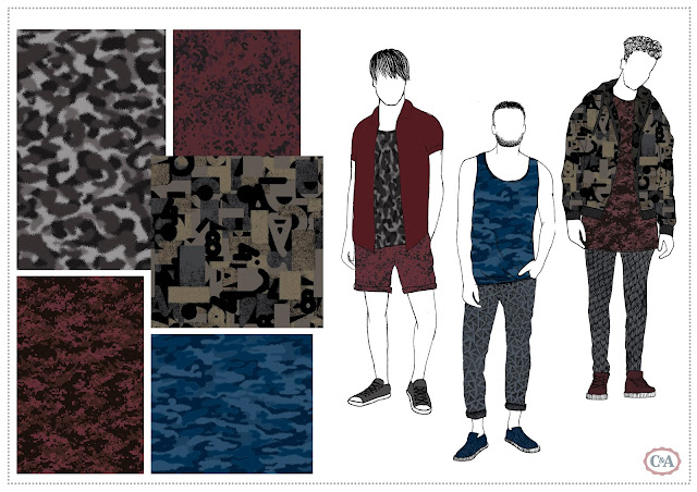 Textile Candy, Textile design, Print design, Floral print, pattern design, printed textiles, fashion print, textile design portfolio, fashion portfolio, textile designer, CAD designer, Pattern designer, Print designer, fashion illustration, portfolio layout, camouflage print, camo pattern, blue camouflage, contemporary camouflage