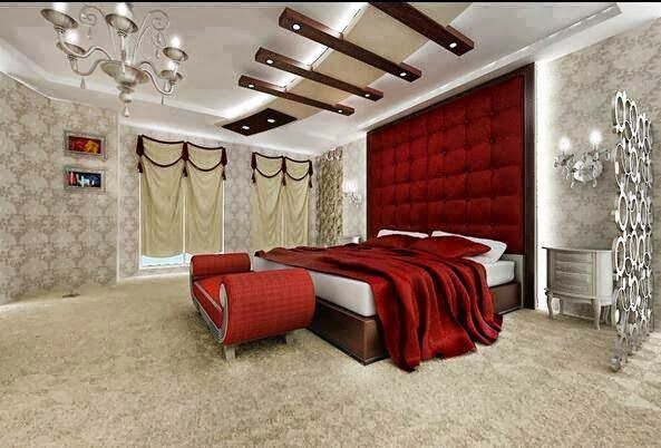 Charming Master bedroom in red and white colors