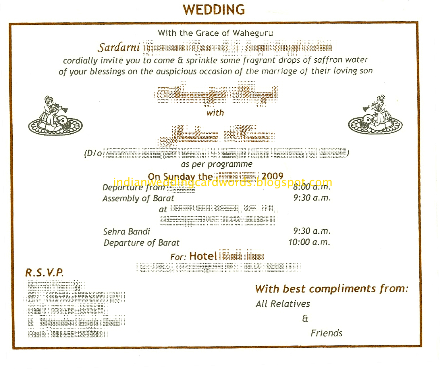 Indian Wedding Invitation Sms Format ~ Yaseen for .