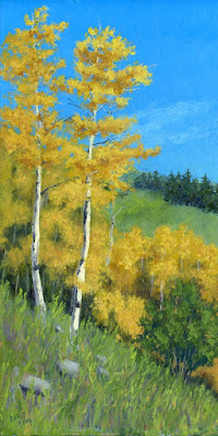 art painting landscape mountain aspen tree autumn fall foliage