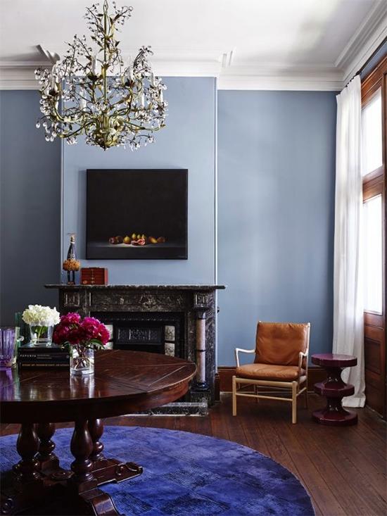 parede azul, living room, sala, azul serenidade, serenity, decoração, decor,