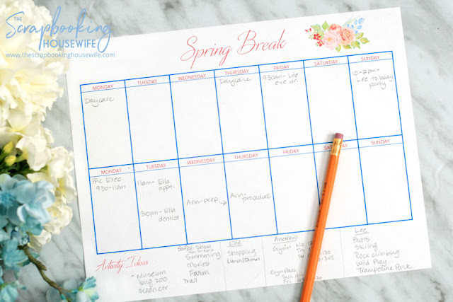 Spring Break Calendar Free Printable
