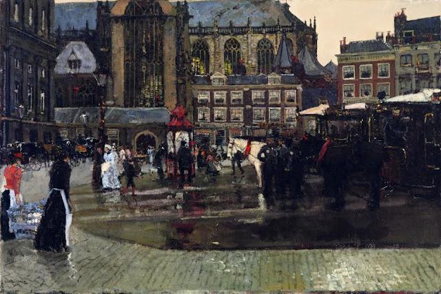 Obra de arte siglo XIX, pintor Hendrik Breitner. Gente y carruajes al centro de la plaza principal.