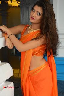 Actress Akishitha Pictures in Saree at Prayanam Movie Opening  0136.JPG