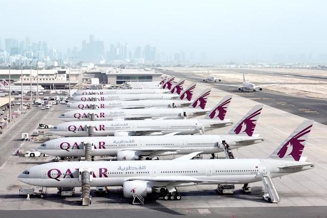 Qatar Airways Boeing 777-300ER Lined Up