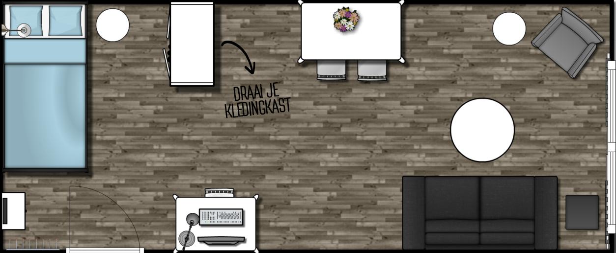 Tips tricks een kamer van 21m2 inrichten als woon en slaapkamer the budget life low - Scheiding tussen twee kamers ...