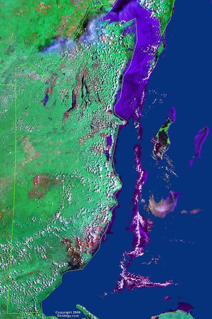 Gambar Peta negara Belize tampak dari satelit