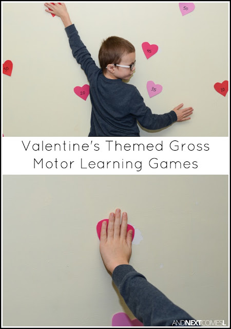 Valentine's Day themed gross motor learning games for kids from And Next Comes L