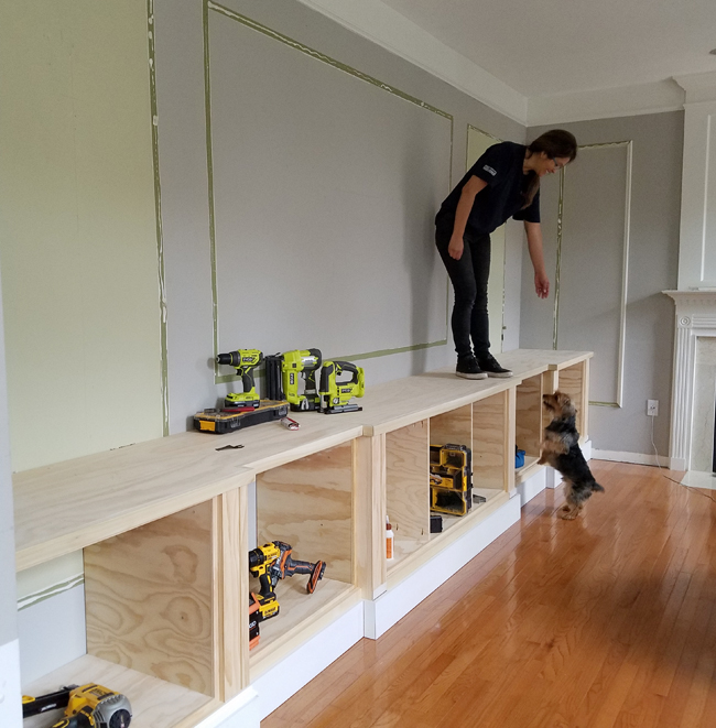 how to install the base cabinets for a built-in wall - Cristina Garay