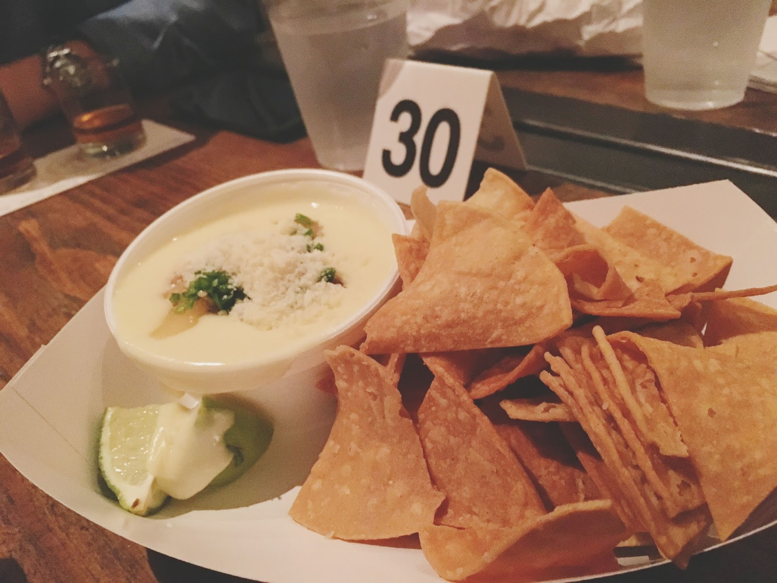 chips and queso at Eight Row Flint - a bar in Houston, Texas