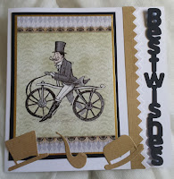 "Vintage gentleman on bicycle 7"" square card - Best Wishes"
