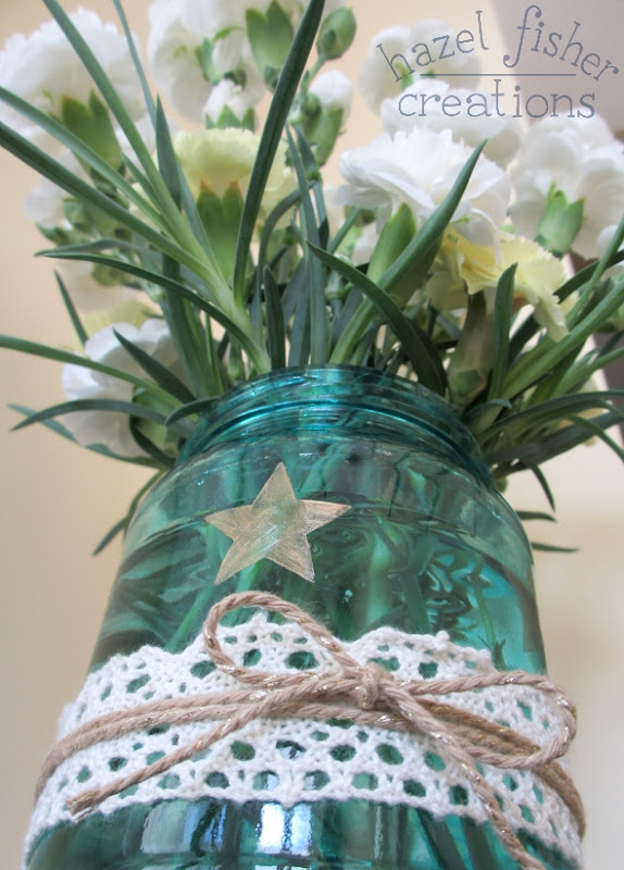 DIY Upcycled Jar Flower Vase carnations hazelfishercreations