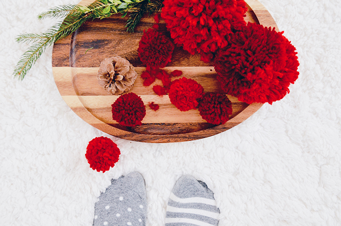 winter / Christmas pom pom decorations