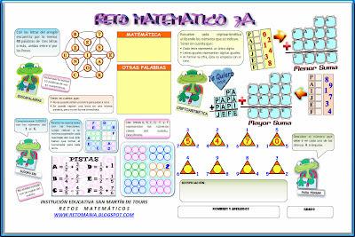 Reto Matemático, Problemas de ingenio matemático, Desafíos Matemáticos, Buscapalabras, Criptoaritmética, Descubre el Número, Sudoku