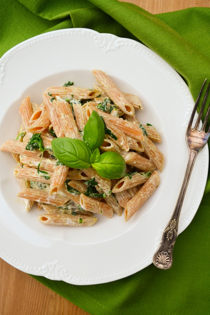 Creamy Spinach and Basil Penne Recipe