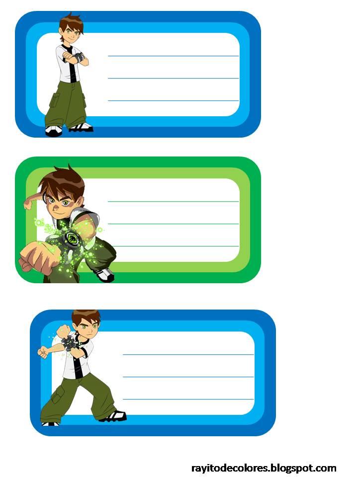 Etiquetas escolares de Ben 10