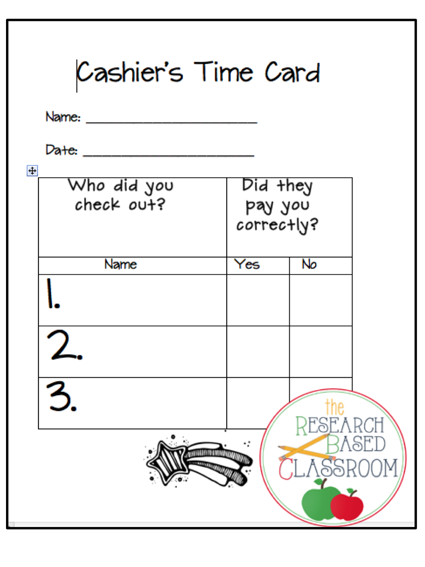 Money Store Record Sheets - Grades 1 and 2