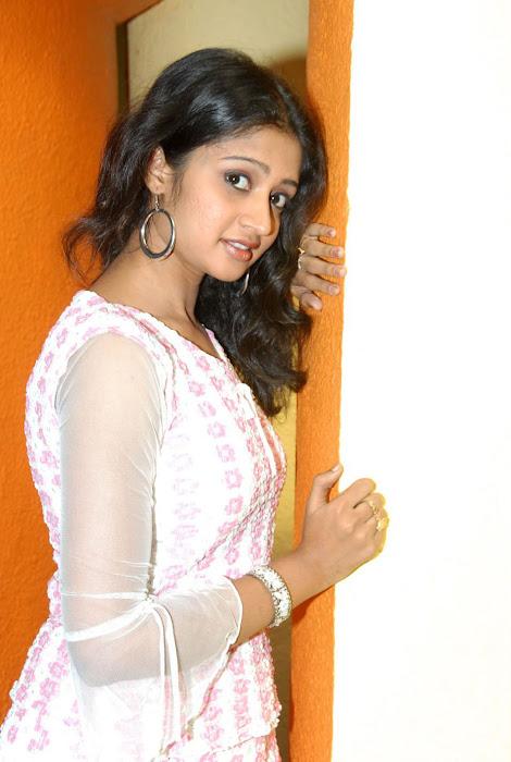 sandeepthi in white dress cute stills