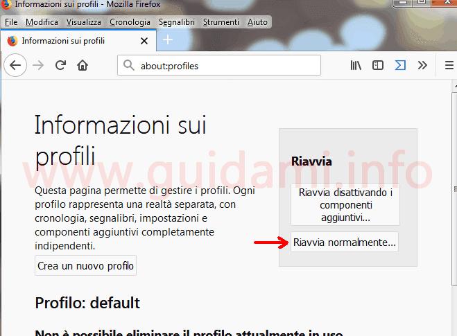 Firefox pagina Info sui profili pulsante Riavvia normalmente