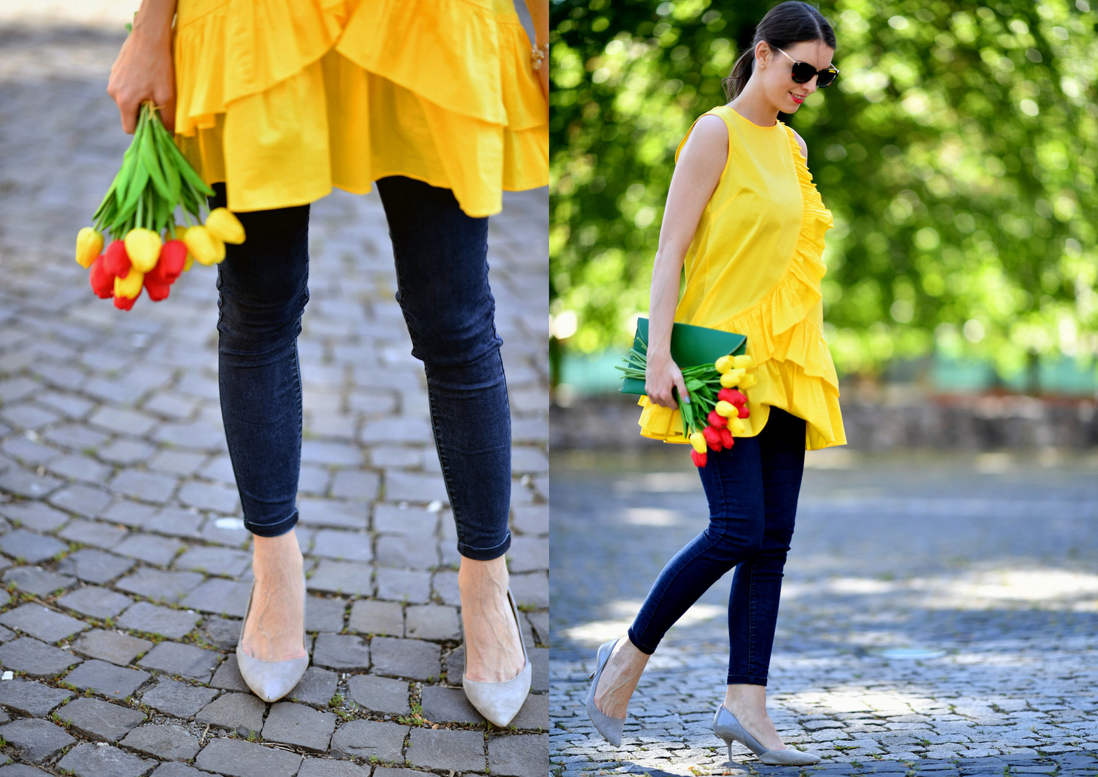 trendy žlté šaty s volánom, ktoré sa dajú nosiť aj ako tunika // yellow dress with valance