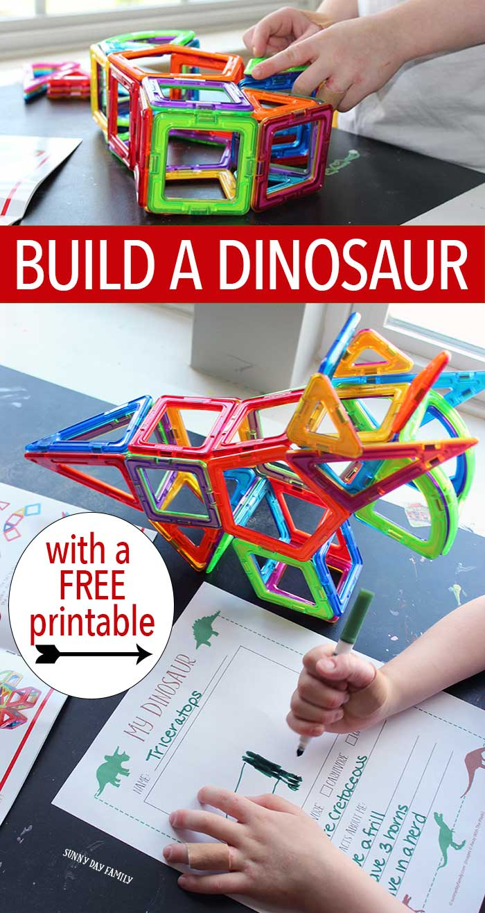 "Build a dinosaur! Kids will love making their own 3D dinosaur with Magformers then writing all about their creating in a free printable ""My Dinosaur"" journal. Little dino fans will love this dinosaur activity and it's educational too!"