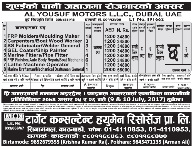 Jobs in Dubai for Nepali, Salary Rs 58,000