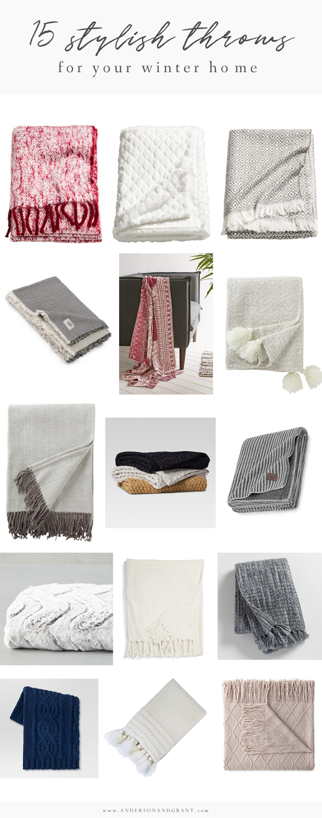 15 Stylish Throw Blankets for Your Winter Home |  www.andersonandgrant.com