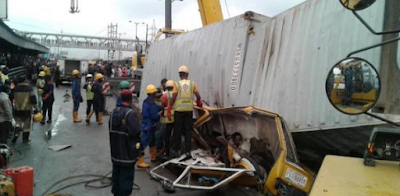 1 - Photos Of RCCG Pastor Crushed To Death By Container Along With His Two Sons And Neighbours At Ojota