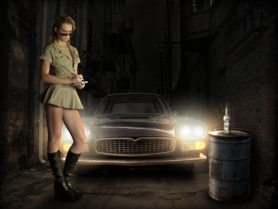 Girl With Car In Photoshop