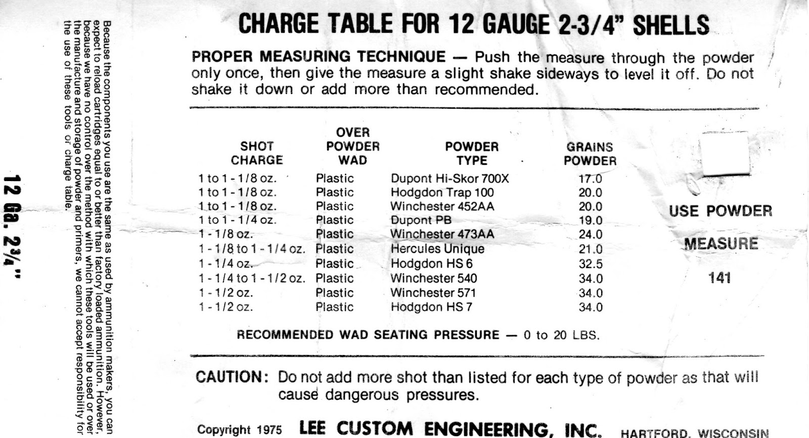 Blackpowderbill S Lee Classic Load Data Sheet From An Old Circa Kit