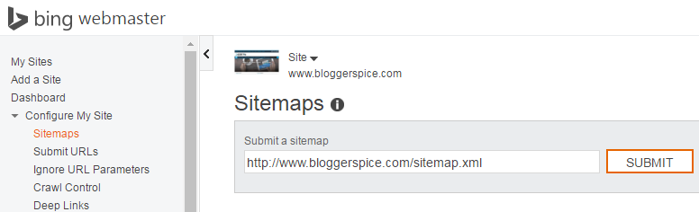 how to submit sitemap to bing webmaster tools bloggerspice