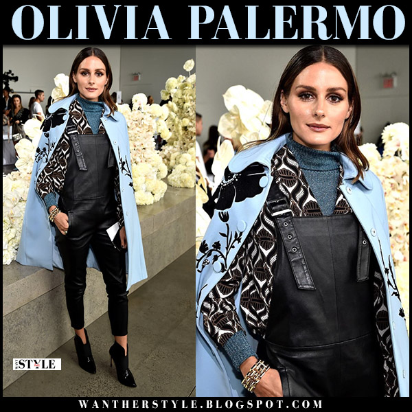 Olivia Palermo in light blue floral raincoat and black leather overalls maison de reefur fashion week outfits september 10