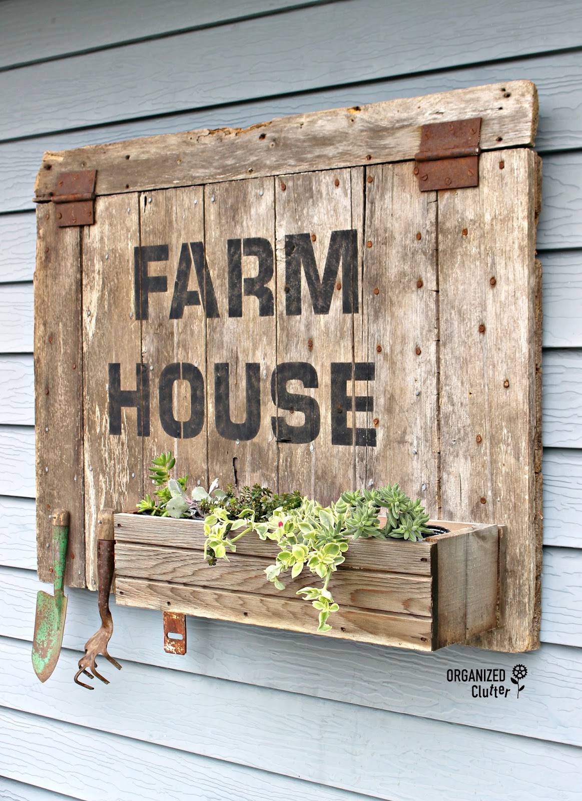 """Outdoor """"Farmhouse"""" Barn Door Sign/Planter Box with Old ..."""