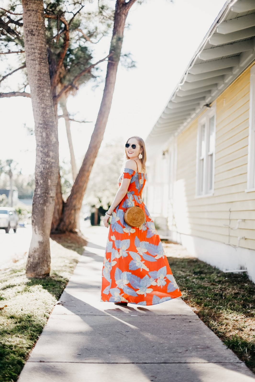 palm tree print dress