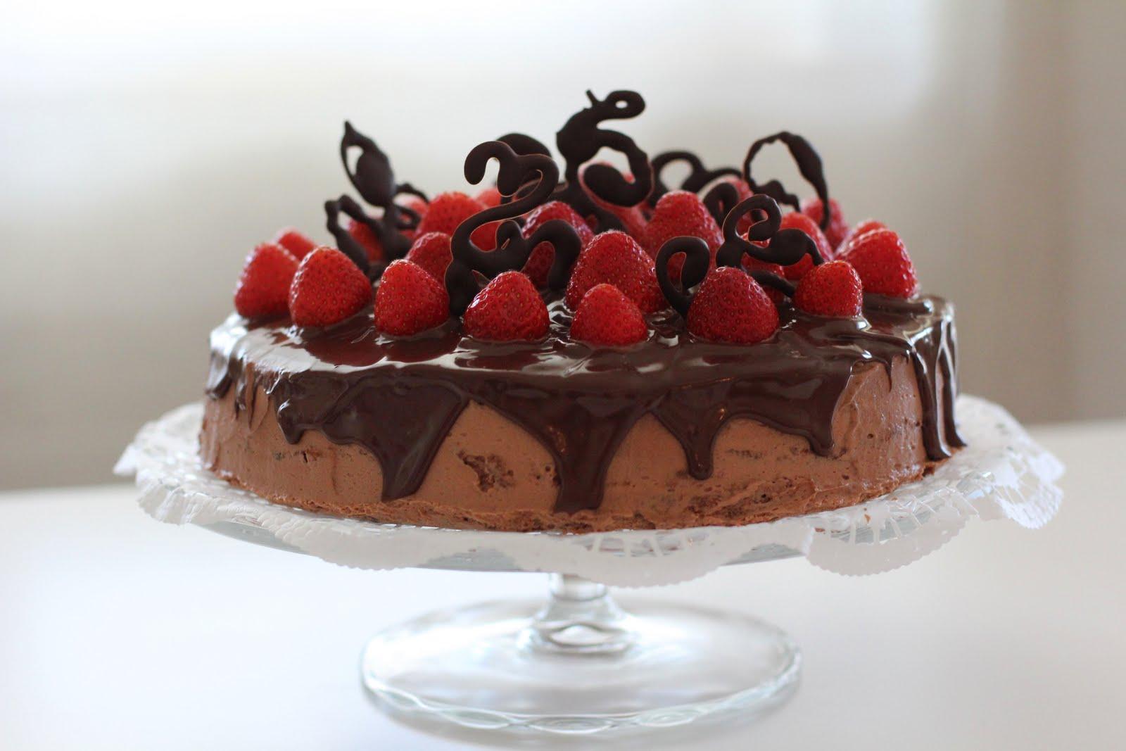 Chocolate Strawberry Layer Cake