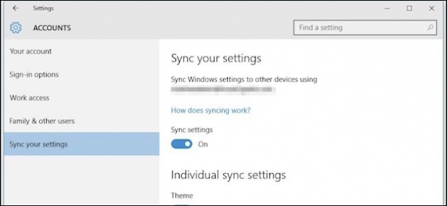 how do i sync my settings in windows 10