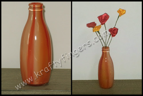 Fiery Sunset: Recycled Jars with Handmade Flowers