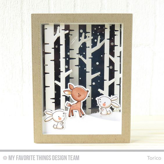 Handmade card from Torico featuring Sweet Forest Friends stamp set and Die-namics, Snowfall Background stamp, and Birch Trees, Snow Drifts, and Pierced Rectangle Frames Die-namics #mftstamps