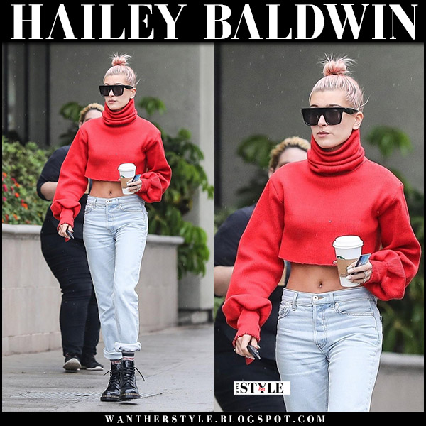 Hailey Baldwin in red cropped sweater high rise jeans and ankle boots dr martens pascal street fashion january 8