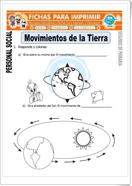 """""""Movimientos de la Tierra"""" (Fichas de Ciencias Sociales de Primaria)"""