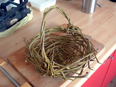 A small rustic basket on a countertop