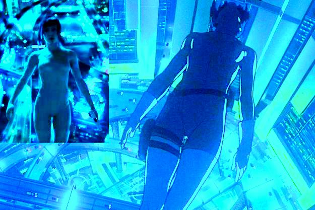 Scarlett Johansson's character in the movie: The Major, using superhuman abilities to her advantage as she falls back off a skyscraper, a scene taken straight out of the animated film.
