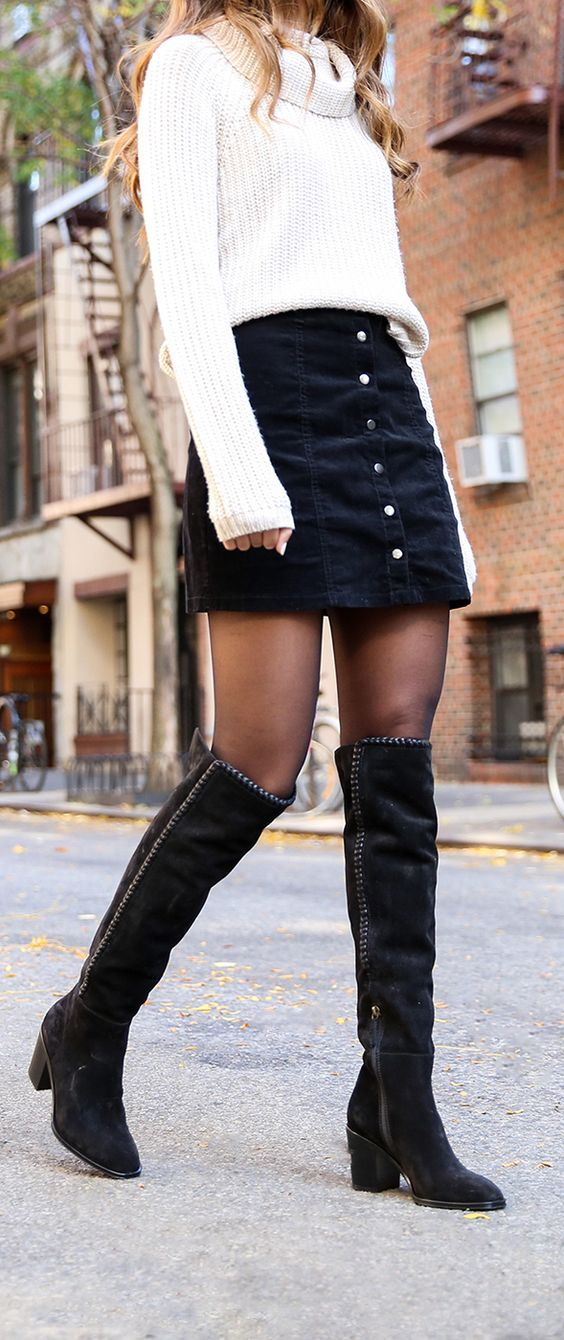 white and black winter trends / sweater + denim skirt + over knee boots