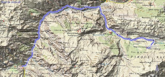 Mapa ruta Caín Refugio de la Terenosa por Bulnes y el Cares