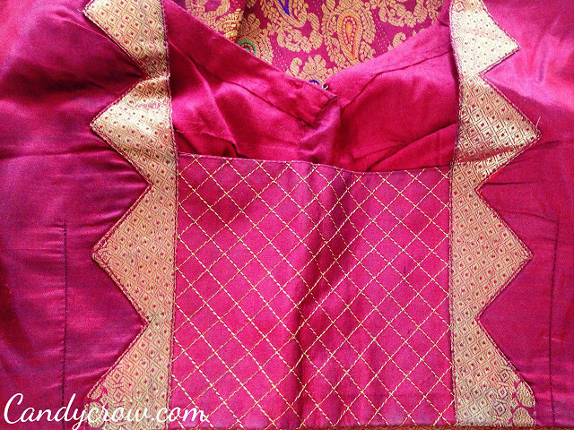 red color Kanchipuram Silk Saree Blouse Design