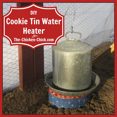 A cookie tin water heater solves the problem of frozen water permanently for less than ten dollars and takes all of ten minutes to build and they work with both plastic and galvanized steel water containers.